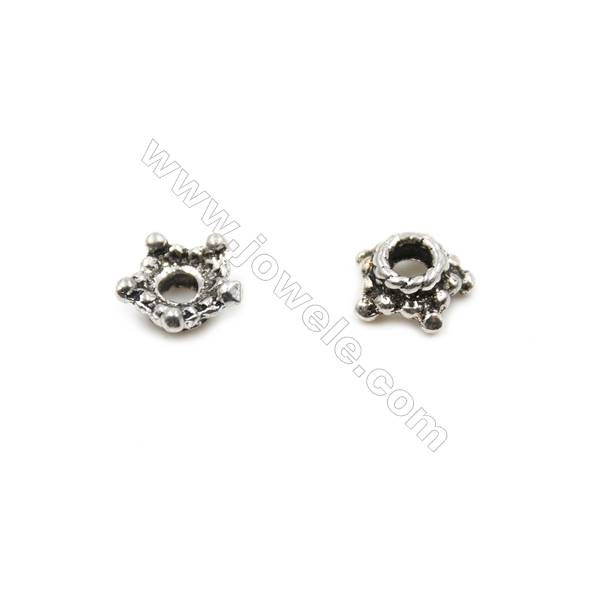 Thai Sterling Silver Flower Bead Caps  Size 5.5x3mm  Hole 1.5mm  80pcs/pack