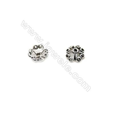 Thai Sterling Silver Flower Bead Caps  4-Petal  Size 6.5x2.5mm  Hole 0.7mm  120pcs/pack