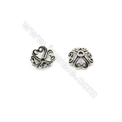 Thai Sterling Silver Flower Bead Caps  4-Petal  Size 7.5x3.5mm  Hole 1mm  80pcs/pack