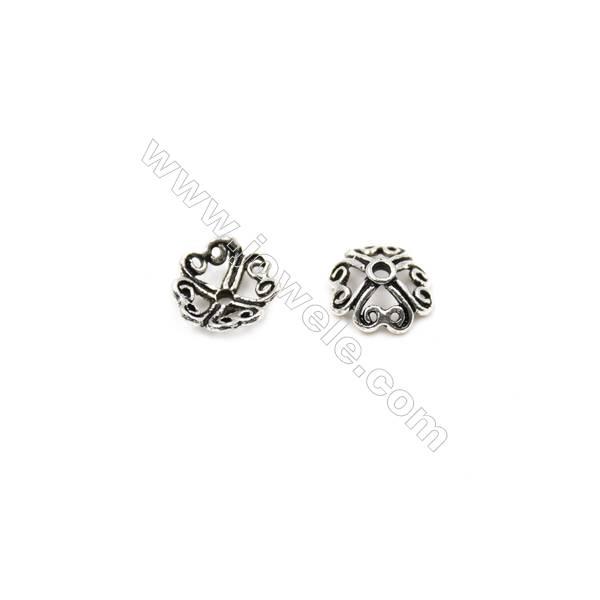 Thai Sterling Silver Flower Bead Caps  4-Petal  Size 7.5x3.5mm  Hole 1mm  80pcs/pack