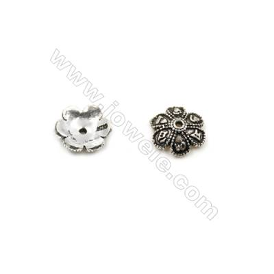 Thai Sterling Silver Flower Bead Caps  6-Petal  Size 9.5x3.4mm  Hole 0.7mm  30pcs/pack