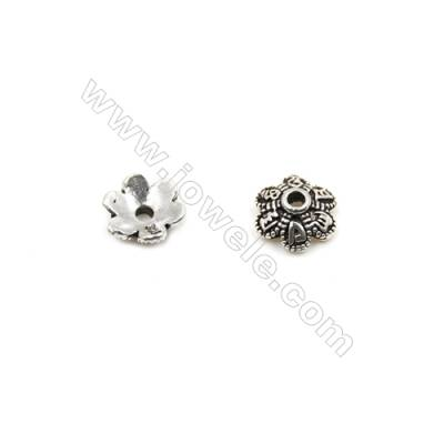 Thai Sterling Silver Flower Bead Caps  6-Petal  Size 7x3.2mm  Hole 1mm  50pcs/pack