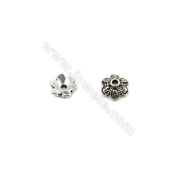 Thai Sterling Silver Flower Bead Caps  6-Petal  Size 7x3.2mm  Hole 1mm  50pcs/pack