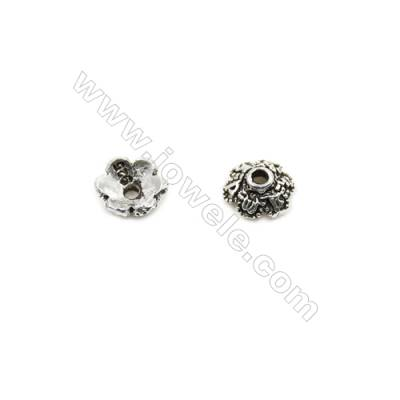 Thai Sterling Silver Flower Bead Caps  6-Petal  Size 6x2.9mm  Hole 1mm  80pcs/pack