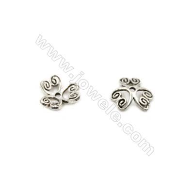 Thai Sterling Silver Flower Bead Caps  3-Petal  Size 8.5x2.8mm  Hole 1mm  40pcs/pack