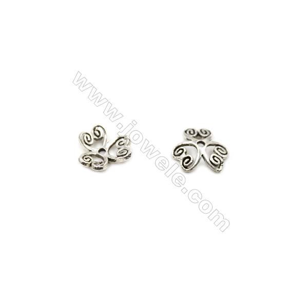 Thai Sterling Silver Flower Bead Caps  3-Petal  Size 8.5x2.8mm  Hole 1mm  40pcs/pack