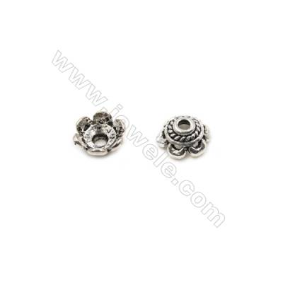 Thai Sterling Silver Flower Bead Caps  6-Petal  Size 6.5x3.5mm  Hole 1.5mm  70pcs/pack
