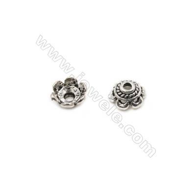 Thai Sterling Silver Flower Bead Caps  6-Petal  Size 6.5x3.5mm  Hole 1.5mm  70pcs/pack