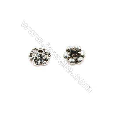 Thai Sterling Silver Flower Bead Caps  6-Petal  Size 7.5x3.5mm  Hole 1.5mm  30pcs/pack