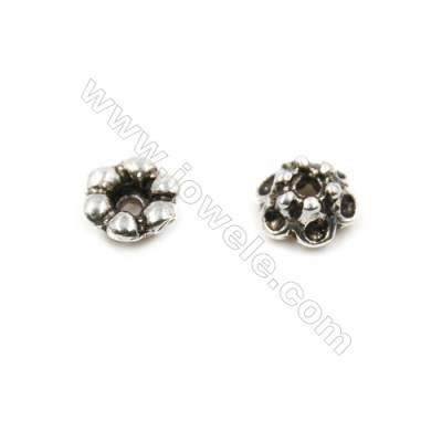 Thai Sterling Silver Flower Bead Caps  6-Petal  Size 5.5x3.3mm  Hole 1mm  60pcs/pack