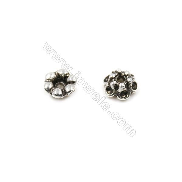 Thai Sterling Silver Flower Bead Caps  6-Petal  Size 5.5x3.3mm  Hole 1mm  60pcs/pack