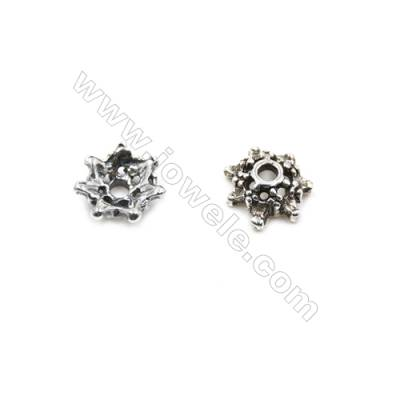 Thai Sterling Silver Flower Bead Caps  7-Petal  Size 8.5x3.4mm  Hole 1.5mm  40pcs/pack