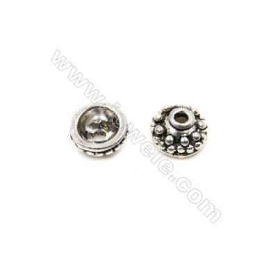 Thai Sterling Silver Bead Caps  Size 7.5x4.3mm  Hole 1.5mm  30pcs/pack