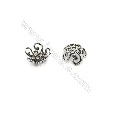 Vintage Jewelry Findings Thai Sterling Silver Bead Caps  Flower  Size 10x4.2mm  Hole 1mm  50pcs/pack