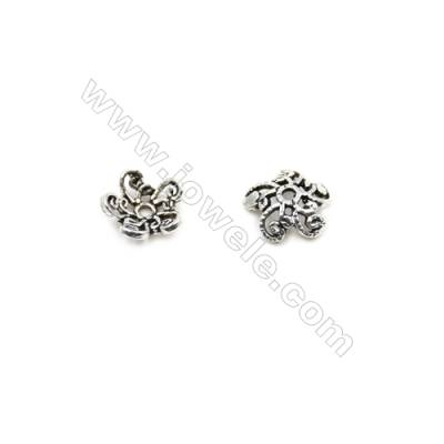 Vintage Jewelry Findings Thai Sterling Silver Bead Caps  Flower  Size 7x2.6mm  Hole 0.8mm  80pcs/pack