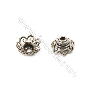 Vintage Jewelry Findings Thai Sterling Silver Bead Caps  Size 11.5x5.7mm  Hole 2mm  20pcs/pack