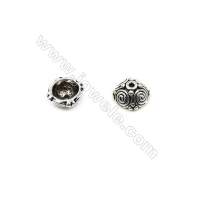 Vintage Jewelry Findings Thai Sterling Silver Bead Caps  Size 8.5x4.3mm  Hole 1mm  20pcs/pack