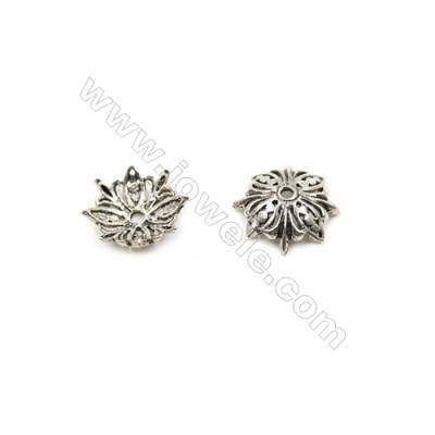 Vintage Jewelry Findings Thai Sterling Silver Bead Caps  Flower  Size 11.5x4mm  Hole 1mm  40pcs/pack