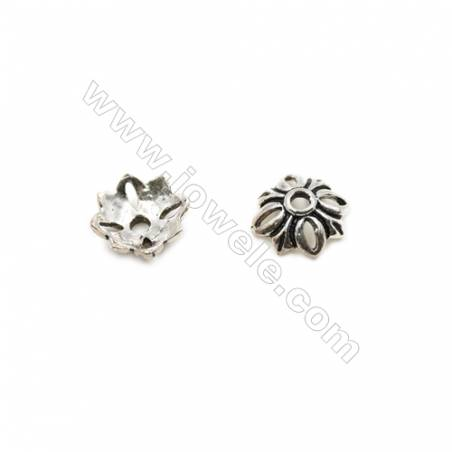 Vintage Jewelry Findings Thai Sterling Silver Bead Caps  Flower  Size 8.5x3.5mm  Hole 1.5mm  40pcs/pack
