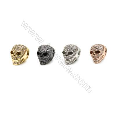 Brass Pave Cubic Zirconia Beads, Skull, Hole 1mm, Size 11x12mm, x20pcs/pack, (Gold, White Gold, Rose Gold, Gun Black) Plated