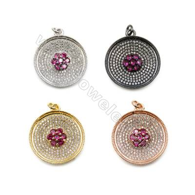Brass Micro Pave Cubic Zirconia Pendants  Round  (Gold  White Gold  Rose Gold  Gun Black) Plated  Diameter 23mm  x6pcs/pack