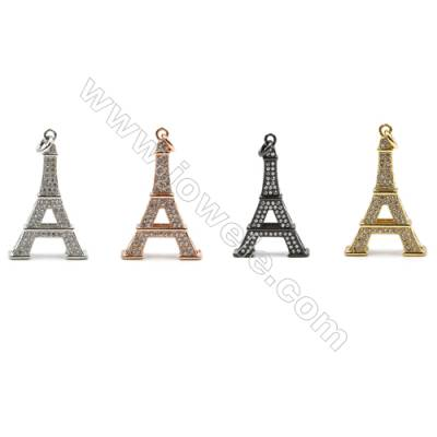 Brass Paving Cubic Zirconia Pendants  Eiffel Tower  Size 18x29mm  x10pcs/pack  (Gold  White Gold  Rose Gold  Gun Black) Plated