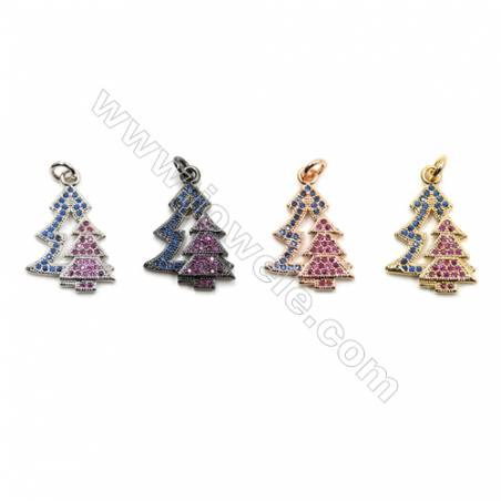 Brass Micro Pave Cubic Zirconia Pendants  Christmas Tree  (White Gold  Rose Gold) Plated  Size 16x22mm  x14pcs/pack
