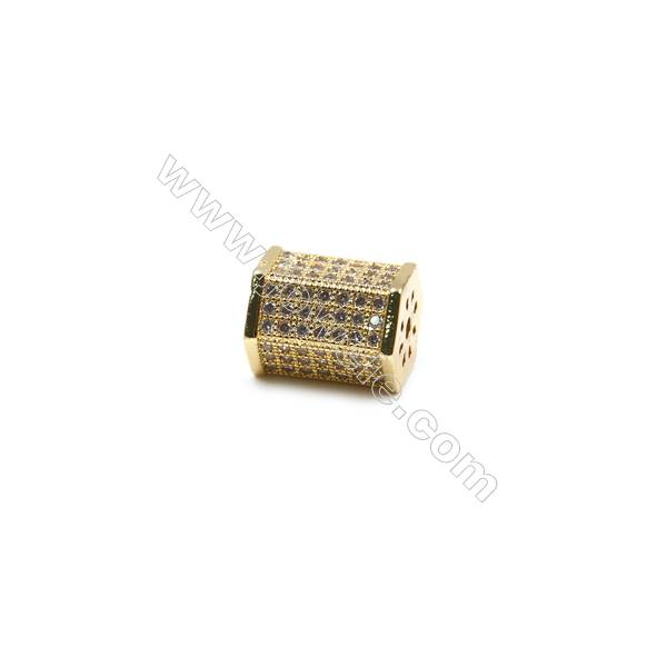Brass Paving Cubic Zirconia Charms  Column  Size 11x13mm  Hole 1.5mm  x10pcs/pack  (Gold  White Gold  Rose Gold  Gun Black) Plat