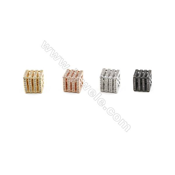 Brass Paving Zircon Charms  Cube  Size 10x10mm  Hole 1.5mm  x10pcs/pack  (Gold  White Gold  Rose Gold  Gun Black) Plated
