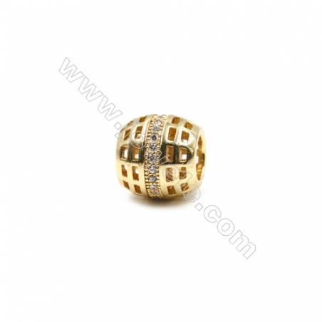 Brass Paving Zircon Charms  Column  Size 10x11mm  Hole 5mm  x30pcs/pack  (Gold  White Gold  Rose Gold  Gun Black) Plated