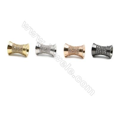 Brass Paving Zircon Charms  Column  Size 10x14mm  Hole 7mm  x14pcs/pack  (Gold  White Gold  Rose Gold  Gun Black) Plated
