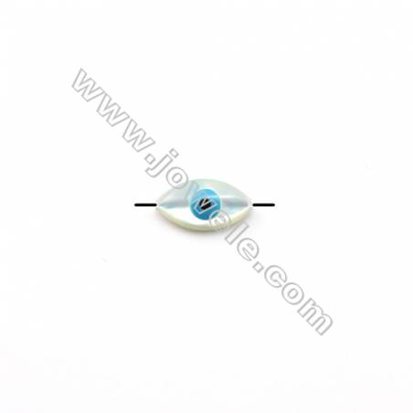 Nazar made of white mother-of-pearl, blue eye, 8x15.5mm, hole 0.8mm, 20pcs/pack