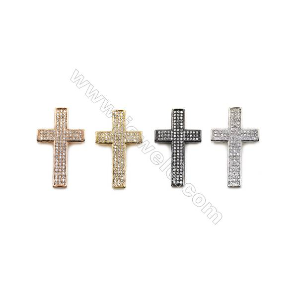 Brass Micro Pave Cubic Zirconia Charms  Cross  (Gold  White Gold  Rose Gold  Gun Black) Plated  Size 18x31mm  x14pcs/pack