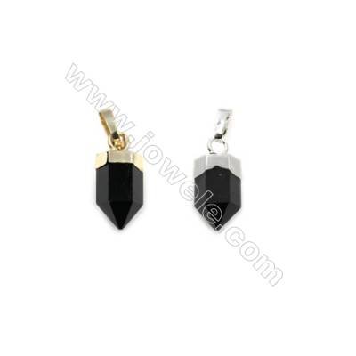Natural Black Agate with Brass Pendants, (Gold, Platinum)Plated, Bullet(Faceted), Size 6x15mm, 8pcs/pack