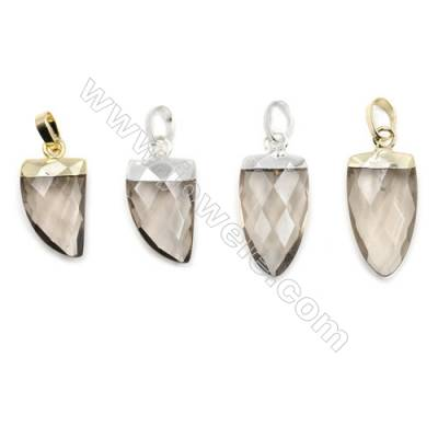 Natural Smoky quartz with Brass Pendants, (Gold, Platinum)Plated, Arrow(Faceted), Size 10x21mm, 6pcs/pack