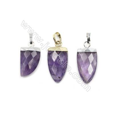 Natural Amethyst with Brass Pendants, (Gold, Platinum)Plated, Arrow(Faceted), Size 10x21mm, 6pcs/pack
