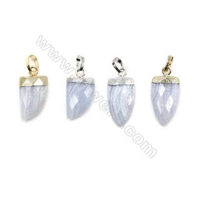 Natural Blue Chalcedony with Brass Pendants, (Gold, Platinum)Plated, Arrow(Faceted), Size 10x21mm, 6pcs/pack