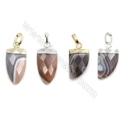 Natural Botswana Agate with Brass Pendants, (Gold, Platinum)Plated, Arrow(Faceted), Size 10x21mm, 6pcs/pack