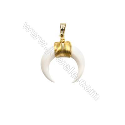 White Ox Bone Pendants  with Brass wire  Golden  Moon  Size: about 24x25mm  8pcs/pack
