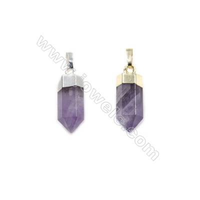 Natural Amethyst with Brass Pendants, (Gold, Platinum)Plated, Bullet(Faceted), Size 7x20mm, 6pcs/pack