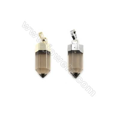 Natural Smoky Quartz with Brass Pendants, (Gold, Platinum)Plated, Bullet(Faceted), Size 7x20mm, 6pcs/pack