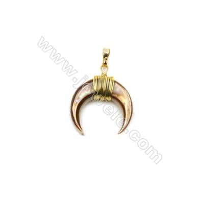 Natural Pink Shell Pendants, with Brass wire, Golden, Moon, Size: about 18x20mm, 6pcs/pack