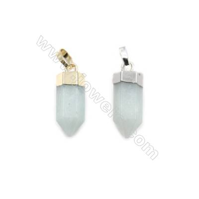Natural Aventurine with Brass Pendants, (Gold, Platinum)Plated, Bullet(Faceted), Size 7x20mm, 6pcs/pack