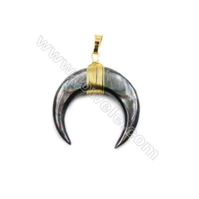 Natural Grey Shell Pendants, with Brass wire, Golden, Moon, Size: about 32x35mm, 6pcs/pack