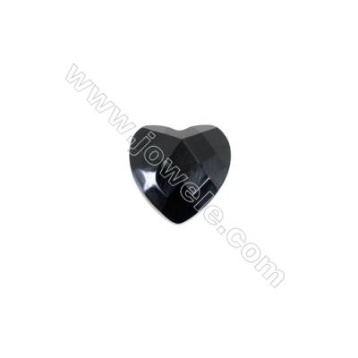 Heart shape faceted black agate cabochon-YT0910   Size 9x10mm  10pcs/pack