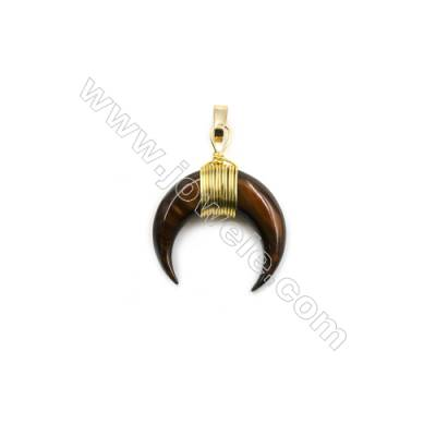 Dyed Tiger-eye Mother of pearl Shell Pendants, with Brass wire, Golden, Moon, Size: about 19x20mm, 8pcs/pack