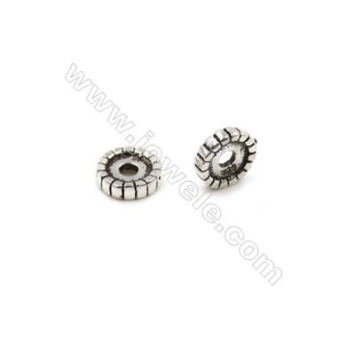 Thai Sterling Silver Spacer Beads  Round  Diameter 8mm  Hole 2mm  30pcs/pack