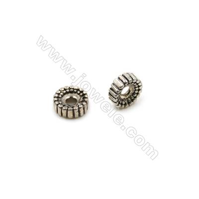 Thai Sterling Silver Spacer Beads  Round  Diameter 7mm  Hole 1.5mm  30pcs/pack
