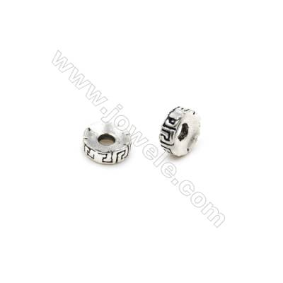 Thai Sterling Silver Spacer Beads  Round  Diameter 5mm  Hole 1.5mm  50pcs/pack