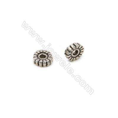 Thai Sterling Silver Spacer Beads  Round  Diameter 6mm  Hole 1.5mm  30pcs/pack